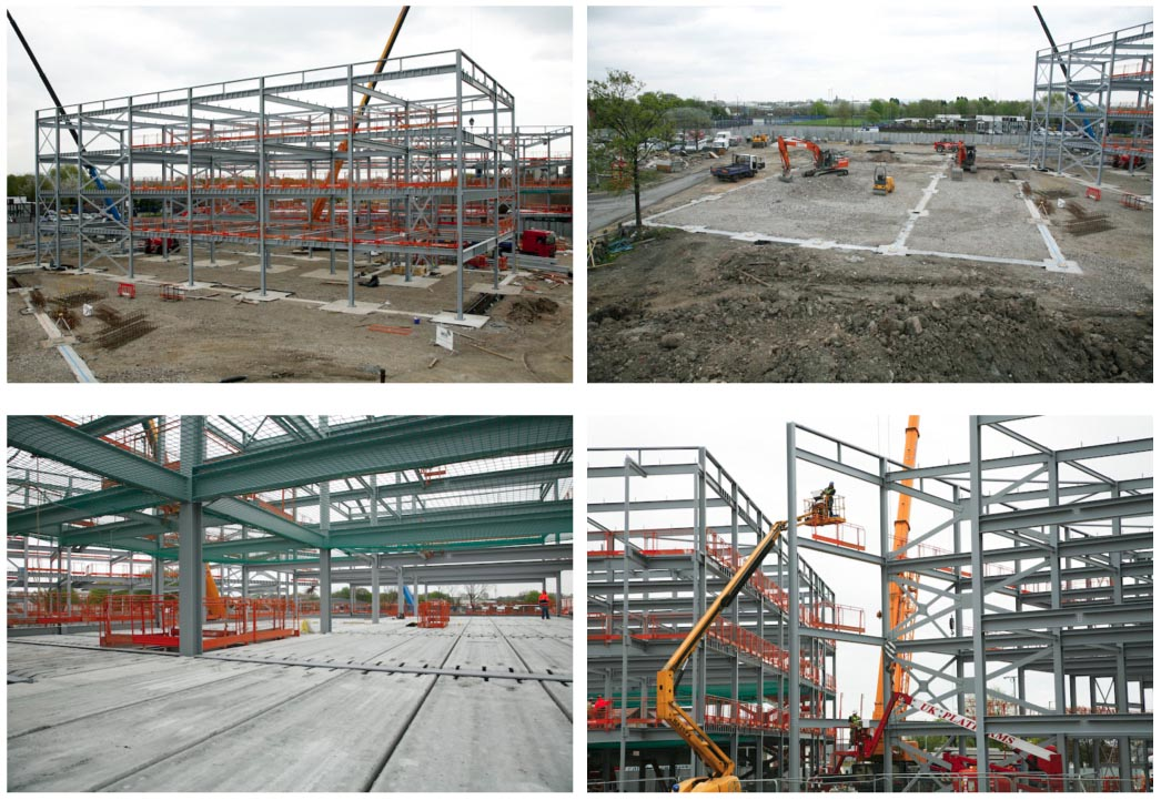 The top right picture shows where the sports hall will be