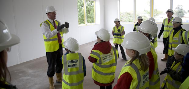 I showed the children and headteachers the progress we've made on site