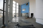 """The central atrium will be a hub of activity when we open in Spetember. The blue-painted wall is where the new district library will be."""