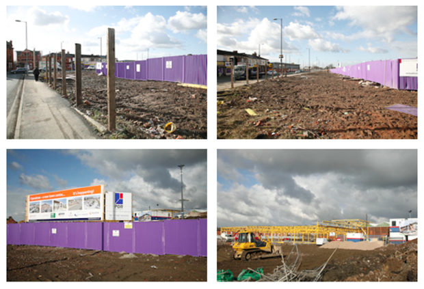 The new town centre rising behind the purple hoardings